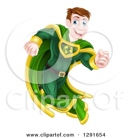 Clipart of a Happy Blue Eyed Caucasian Male Super Hero Running in a Green Suit - Royalty Free Vector Illustration by AtStockIllustration