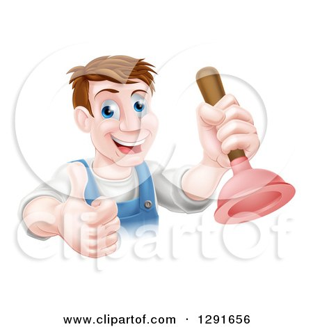 Clipart of a Middle Aged Brunette White Male Plumber Holding a Thumb up and a Plunger - Royalty Free Vector Illustration by AtStockIllustration