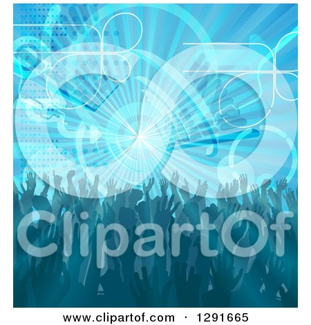 Clipart of a Blue Music Background of People Dancing over a Burst with Equalizer Bars - Royalty Free Vector Illustration by AtStockIllustration