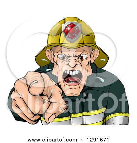 Clipart of a Tough Chief Fireman Pointing Outwards and Shouting - Royalty Free Vector Illustration by AtStockIllustration