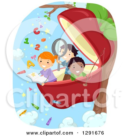 Clipart of Happy School Children Reading and Studying in a Giant Apple - Royalty Free Vector Illustration by BNP Design Studio