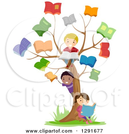 Clipart of Happy School Children Playing at a Reading Book Tree - Royalty Free Vector Illustration by BNP Design Studio
