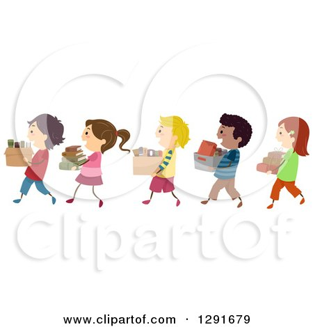 Clipart of a Line of Happy Children Carrying Boxes of Books - Royalty Free Vector Illustration by BNP Design Studio
