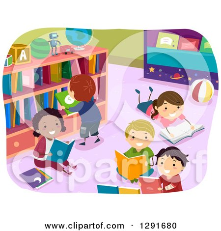 Clipart of Happy Children Reading Books in a Library - Royalty Free Vector Illustration by BNP Design Studio