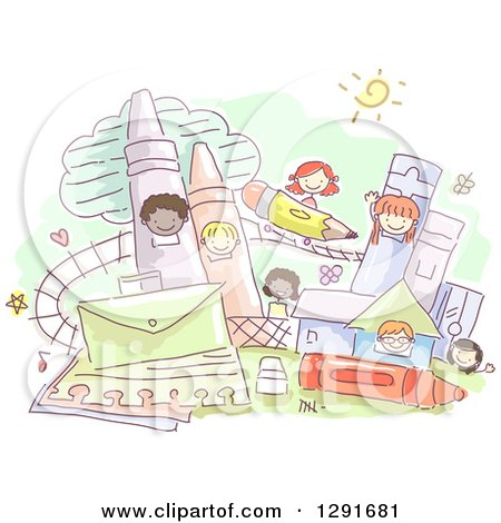 Clipart of a Sketched Theme Park with School Children - Royalty Free Vector Illustration by BNP Design Studio