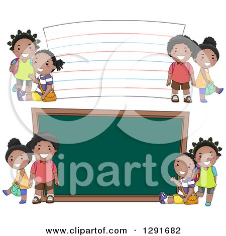 Clipart of Happy Black School Children by a Giant Note Card and Chalk Board - Royalty Free Vector Illustration by BNP Design Studio