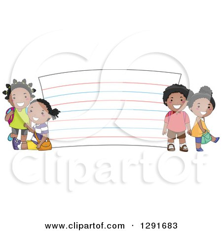 Clipart of Happy Black School Children by a Giant Note Card - Royalty Free Vector Illustration by BNP Design Studio
