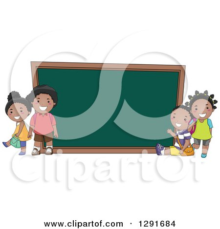 Clipart of Happy Black School Children by a Giant Chalk Board - Royalty Free Vector Illustration by BNP Design Studio