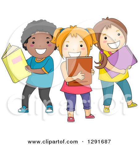 Clipart of a Group of Happy Children with Books - Royalty Free Vector Illustration by BNP Design Studio