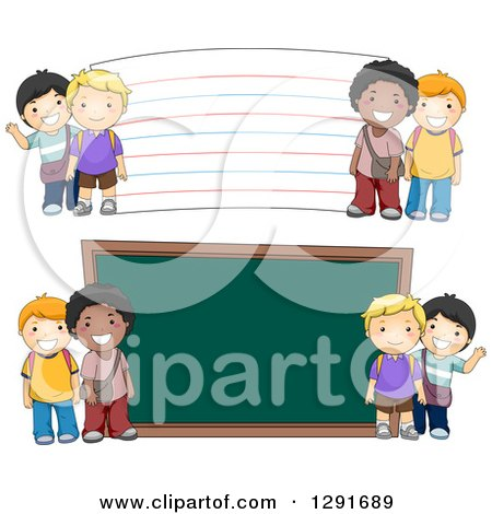 Clipart of Happy White and Black School Boys by a Giant Chalk Board and Note Card - Royalty Free Vector Illustration by BNP Design Studio