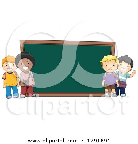 Clipart of Happy White and Black School Boys by a Giant Chalk Board - Royalty Free Vector Illustration by BNP Design Studio