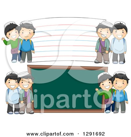 Clipart of Happy Muslim School Boys by a Giant Chalk Board and Note Card - Royalty Free Vector Illustration by BNP Design Studio