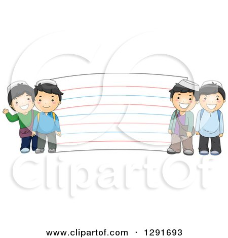 Clipart of Happy Muslim School Boys by a Giant Note Card - Royalty Free Vector Illustration by BNP Design Studio
