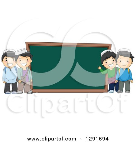 Clipart of Happy Muslim School Boys by a Giant Chalk Board - Royalty Free Vector Illustration by BNP Design Studio