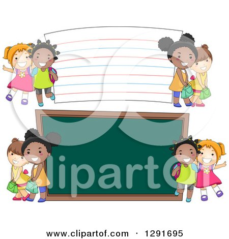 Clipart of Happy White and Black School Girls by a Giant Chalk Board and Note Card - Royalty Free Vector Illustration by BNP Design Studio