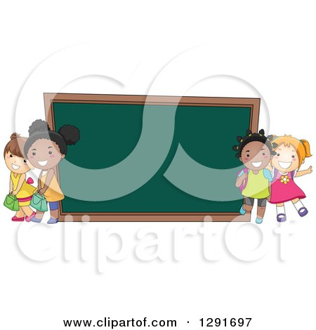 Clipart of Happy White and Black School Girls by a Giant Chalk Board - Royalty Free Vector Illustration by BNP Design Studio