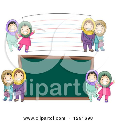 Clipart of Happy Muslim School Girls by a Giant Chalk Board and Note Card - Royalty Free Vector Illustration by BNP Design Studio