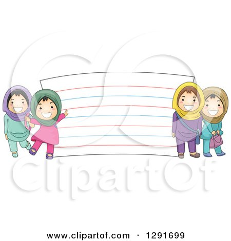 Clipart of Happy Muslim School Girls by a Giant Note Card - Royalty Free Vector Illustration by BNP Design Studio