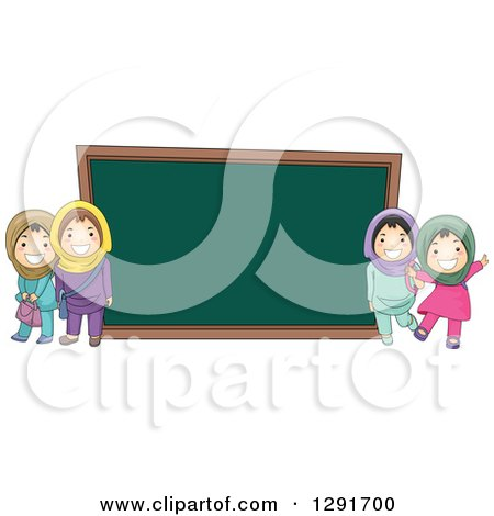 Clipart of Happy Muslim School Girls by a Giant Chalk Board - Royalty Free Vector Illustration by BNP Design Studio