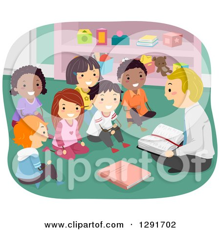 Clipart of a Group of Happy Sunday School Children Sitting and Listening to a Male Teacher Read from the Bible - Royalty Free Vector Illustration by BNP Design Studio