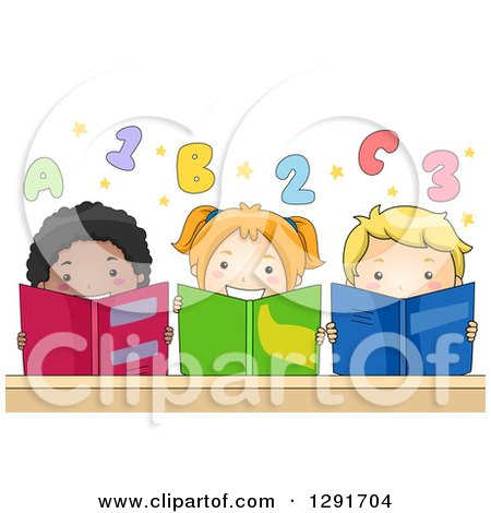 Clipart of a Group of Happy Children Reading Books Under Numbers and Alphabet Letters - Royalty Free Vector Illustration by BNP Design Studio