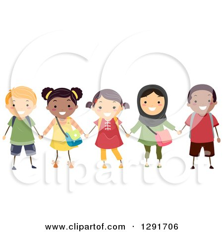 Clipart of a Group of Happy Diverse School Children Smiling and Holding Hands - Royalty Free Vector Illustration by BNP Design Studio