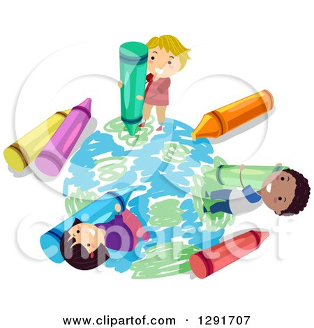 Clipart of a Happy Group of School Children Coloring Planet Earth with Crayons - Royalty Free Vector Illustration by BNP Design Studio