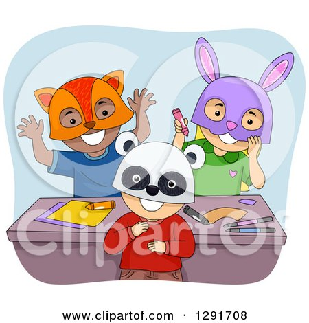 Clipart of a Group of Happy Preschool Children Wearing Animal Masks - Royalty Free Vector Illustration by BNP Design Studio