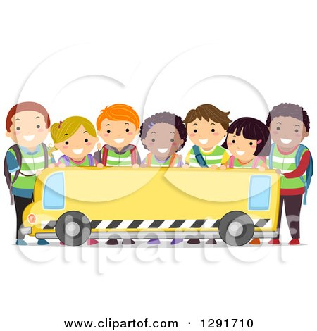 Clipart Of A Group Of Happy Diverse School Children Over A Blank School Bus Banner Royalty Free Vector Illustration