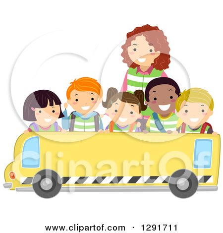 Clipart of a Group of Happy Diverse School Children and a Teacher over a Blank School Bus Banner - Royalty Free Vector Illustration by BNP Design Studio