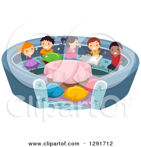 Clipart of a Group of Happy Children Playing in a Conversation Pit - Royalty Free Vector Illustration by BNP Design Studio