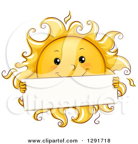 Clipart of a Happy Sketched Sun Character Holding a Blank Sign - Royalty Free Vector Illustration by BNP Design Studio