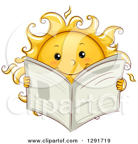 Clipart of a Happy Sketched Sun Character Reading a Newspaper - Royalty Free Vector Illustration by BNP Design Studio