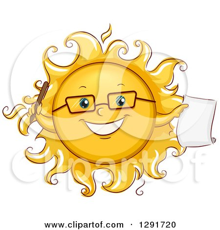 Clipart of a Happy Sketched Sun Character Student Holding a Pen and Paper - Royalty Free Vector Illustration by BNP Design Studio