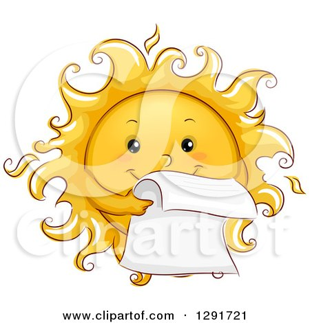 Clipart of a Happy Sketched Sun Character Reading a Letter - Royalty Free Vector Illustration by BNP Design Studio