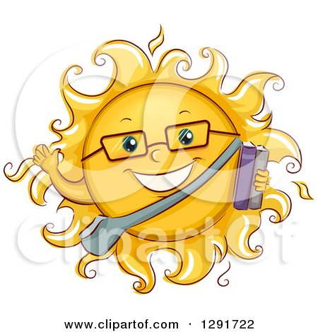 Clipart of a Happy Sketched Summer School Student Sun Character Waving and Holding Books - Royalty Free Vector Illustration by BNP Design Studio