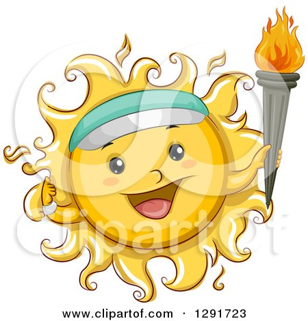 Clipart of a Happy Sketched Sun Character Wearing a Visor and Holding a Torch - Royalty Free Vector Illustration by BNP Design Studio