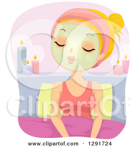 Clipart of a Relaxed Blond Caucasian Woman Sitting in Bed with a Facial Mask and Candles - Royalty Free Vector Illustration by BNP Design Studio