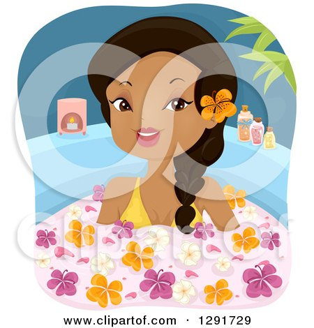 Clipart of a Happy Black Woman Soaking in a Floral Bath - Royalty Free Vector Illustration by BNP Design Studio