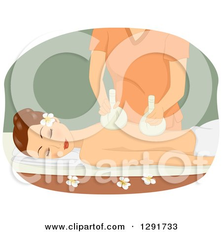 Clipart of a Relaxed Brunette Woman Getting a Massage with Poultice Sacks - Royalty Free Vector Illustration by BNP Design Studio
