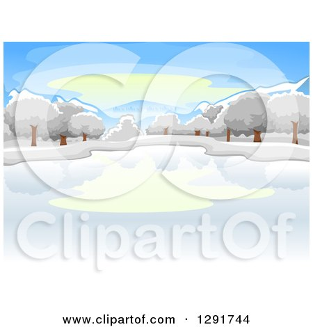 Clipart of a Frozen Winter Lake with Trees on a Winter Day - Royalty Free Vector Illustration by BNP Design Studio