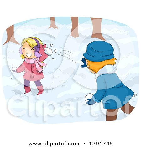 Clipart of a Playful White Girl and Boy Having a Snow Ball Fight - Royalty Free Vector Illustration by BNP Design Studio
