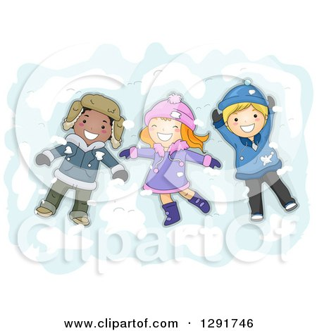 Clipart of a Group of Happy White and Black Children Making Snow Angels - Royalty Free Vector Illustration by BNP Design Studio