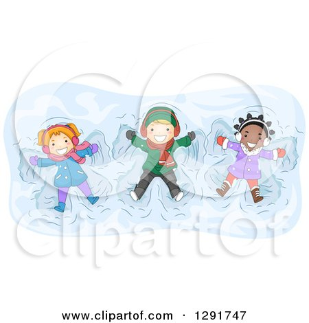 Clipart of a Happy White and Black Children Playing and Making Snow Angels - Royalty Free Vector Illustration by BNP Design Studio