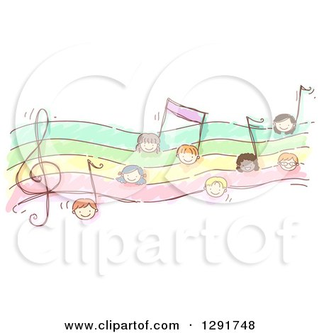 Clipart of Faces of Doodled Children Forming Music Notes - Royalty Free Vector Illustration by BNP Design Studio
