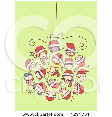 Clipart of a Group of Doodled Diverse Faces of Children Forming a Christmas Bauble over Green - Royalty Free Vector Illustration by BNP Design Studio