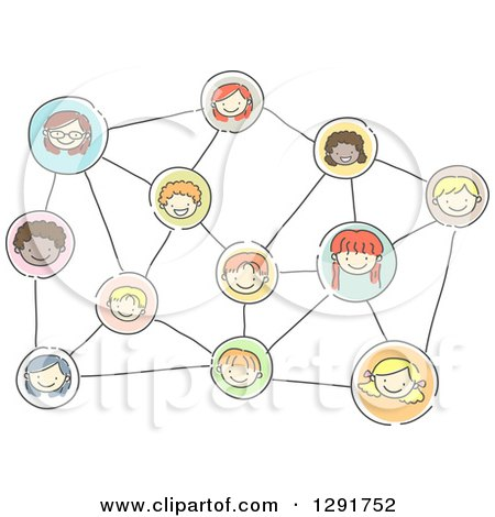 Clipart of a Doodled Network of Happy Social Children - Royalty Free Vector Illustration by BNP Design Studio