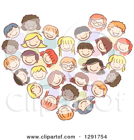 Clipart of a Doodled Group of Diverse Children Forming a Heart - Royalty Free Vector Illustration by BNP Design Studio