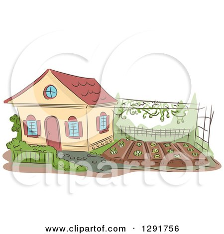 Clipart of a Sketched Cottage with a Garden in the Yard - Royalty Free Vector Illustration by BNP Design Studio