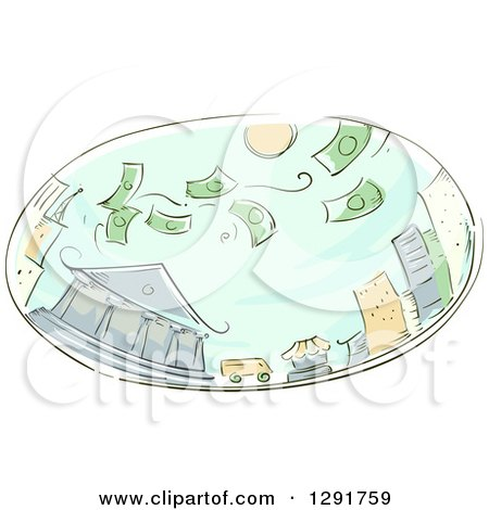 Clipart of a Sketched Oval Scene of Money Raining on a City - Royalty Free Vector Illustration by BNP Design Studio